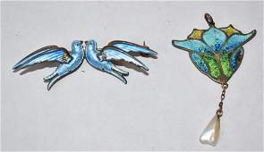 Sterling Silver and Enameled Brooch & Pendant