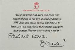 Princess Diana Signed HIV Card With Quote