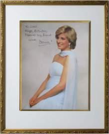 Princess Diana Signed Framed Photograph.