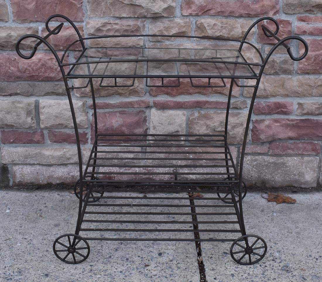 Wrought Iron Glass Topped Hostess Cart