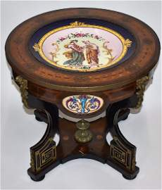 Rare 19th C. French Victorian Table. Sevres Insert