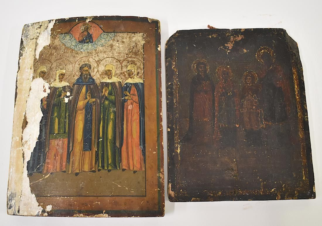 18th C. Russian Icon (As is) and a Second (as is)