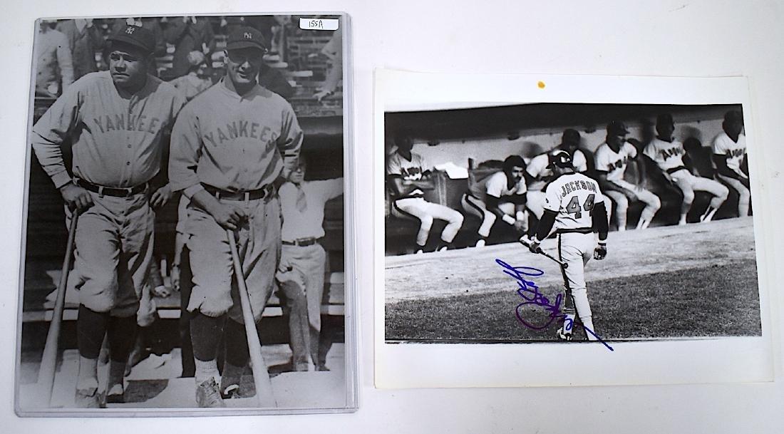 Babe Ruth /Gehrig Photo. Sgd. Reggie Jackson Photograph