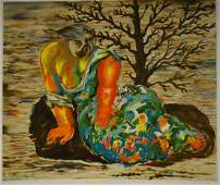 20thC Modernist Lithograph  Woman Under a Tree Signed