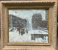 """Guy Wiggins; American Oil """"Winters Day on the Avenue"""""""