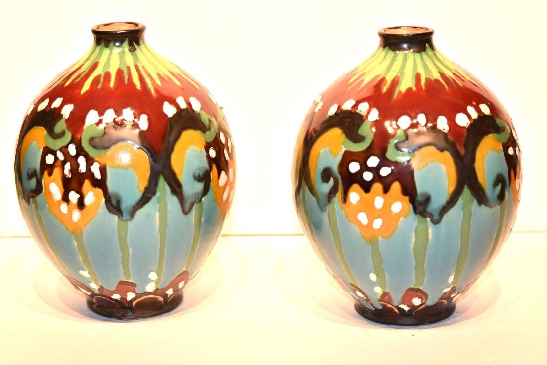 Pair of French Art Deco Glazed Pottery Vases