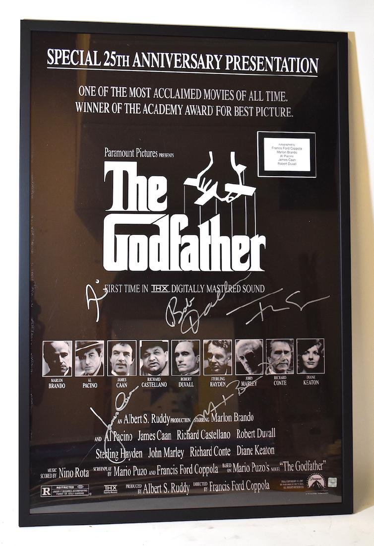 Movie Poster. Godfather. Signed by Brando, Caan,Pacino