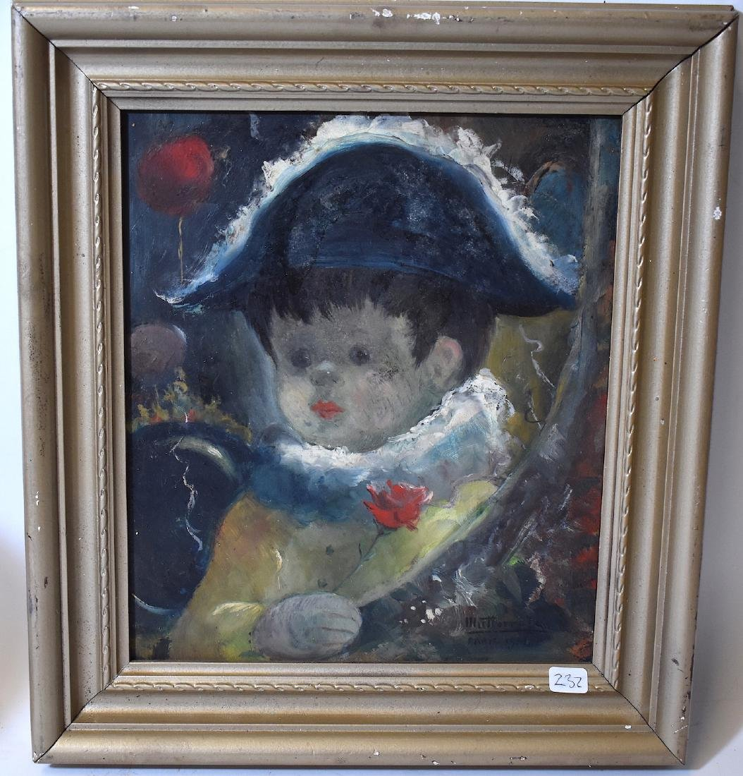 Oil on Panel. Young Boy Tri-Colored Hat. Sgd.