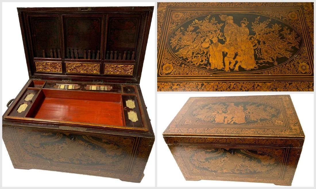19th C. Rare Chinese Lacquered Sewing Chest