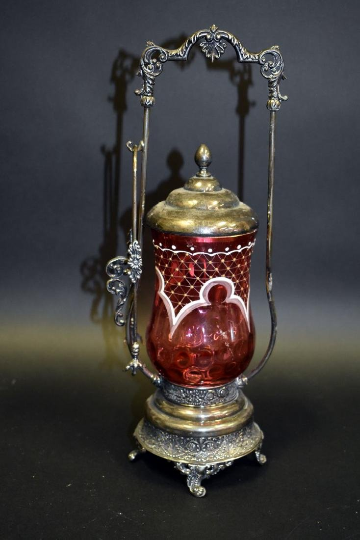 Victorian Silverplate and Cranberry Glass Pickle Caster