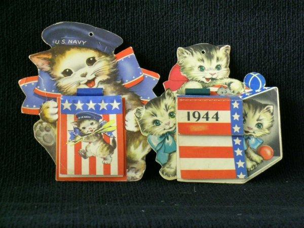 15: Ephemera Lot, Two World War II Calendar Die Cuts an