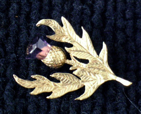 21: 14K Gold and Amethyst Thistle Pin/Brooch