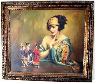 Charles B. Chambers; 20thC. Oil - The Japanese Dolls
