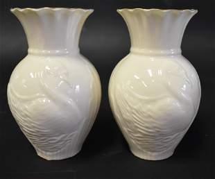 Belleek Swan Vase Red Mark PR
