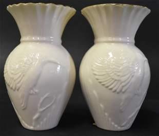 Belleek Kingfisher Vase Red Mark PR