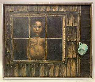 Ron Workman; 20thC. American Oil - At the Window Signed