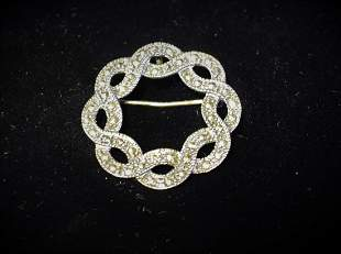 Art Deco Sterling and Marcasite Brooch by FAS