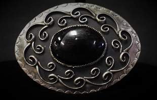 Onyx and Sterling Silver Belt Buckle