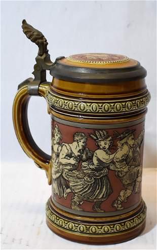 Mettlach Stein #485 Castle Mark 1 Liter