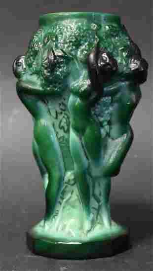 Lalique Style Bas Relief Vase