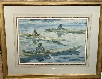 Frederic Remington; Important Watercolor - Quebec Inuit