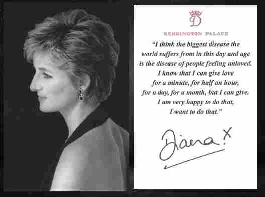 Princess Diana Signed Rare Photo Card With Quote