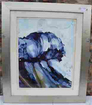 M Swaltze Abstract Watercolor Signed