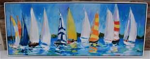 Jane Suka Oil on Canvas Boats Sgd