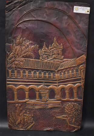 Copper Bas Relief Plaque Sgd