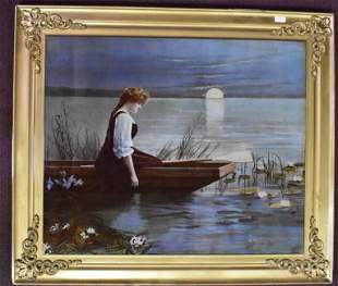 Reverse Painting on Glass, Woman on Boat