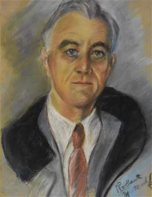 R. Metcalf Sgd. Pastel of FDR