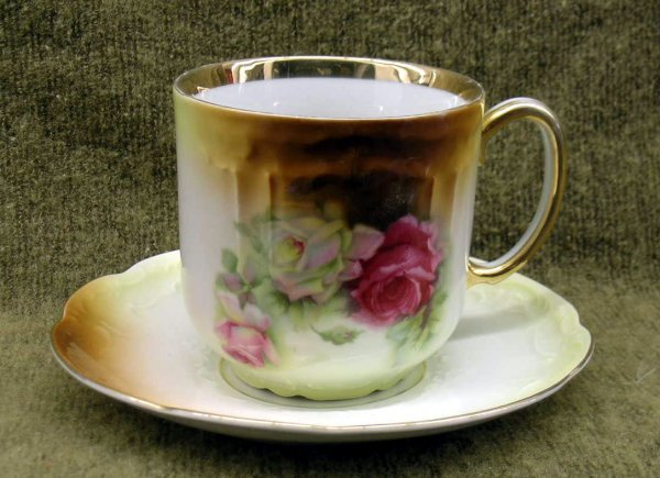 4: Oversized Hand painted German Cup and Saucer