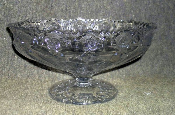 10: Dahlia Decorated Pressed Glass Compote