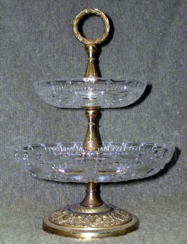 21: French Dore Bronze & Crystal Server