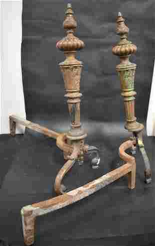 Pair Antique Andirons