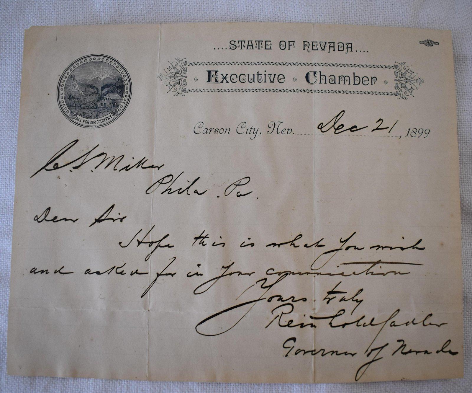 Autograph Nevada Governor Reinhold Sadler