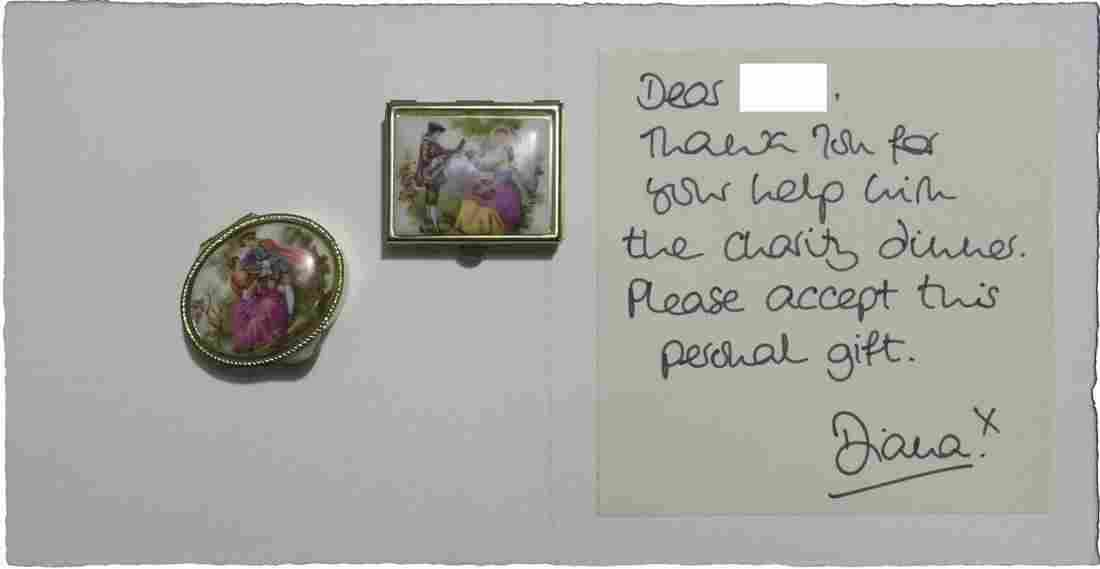 Princess Diana Personal Gift & Signed Card