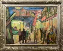 Ernest Fiene; 20thC. American Oil - Under the El Signed