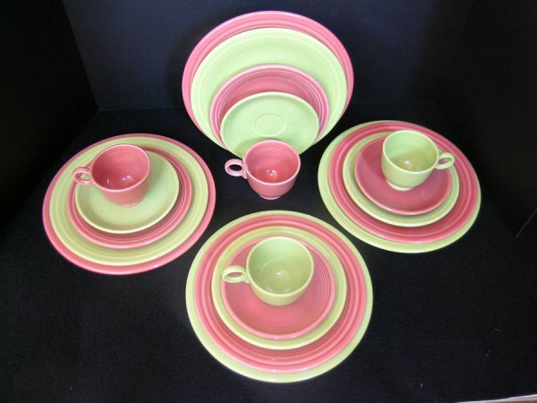 175: 20 PCS FIESTA WARE ROSE & CHARTREUSE