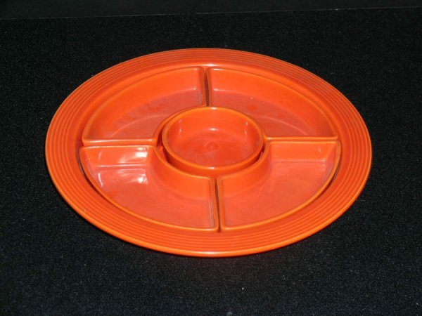 195: FIESTA WARE RED RELISH TRAY