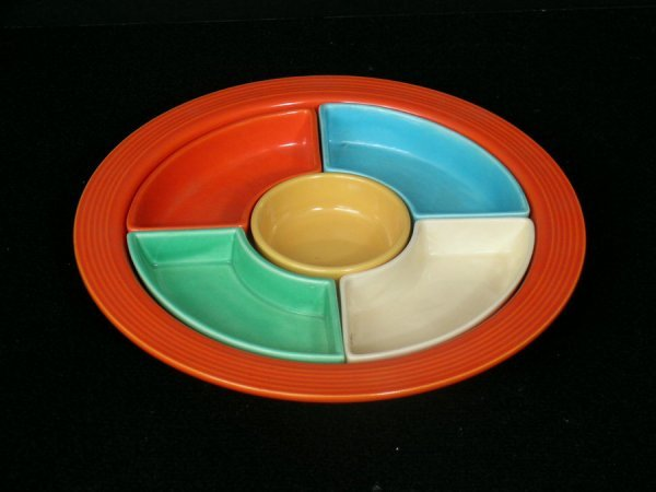 196: FIESTA WARE RED RELISH TRAY