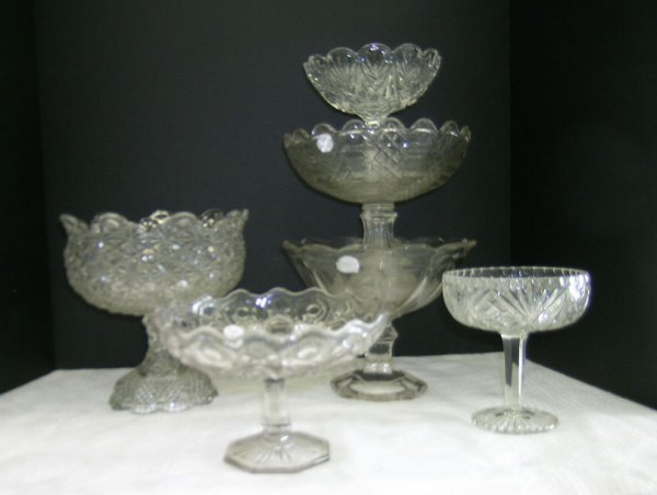 306: SIX AMERICAN PRESSED GLASS COMPOTES