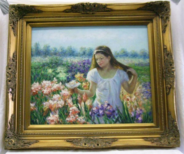 323: PAINTING. GIRL IN A FIELD OF FLOWERS