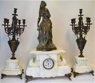 Superb 19th C. French Bronze & Marble Clock Set