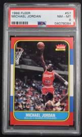 1986-1987 Fleer Basketball Michael Jordan Rookie PSA 8