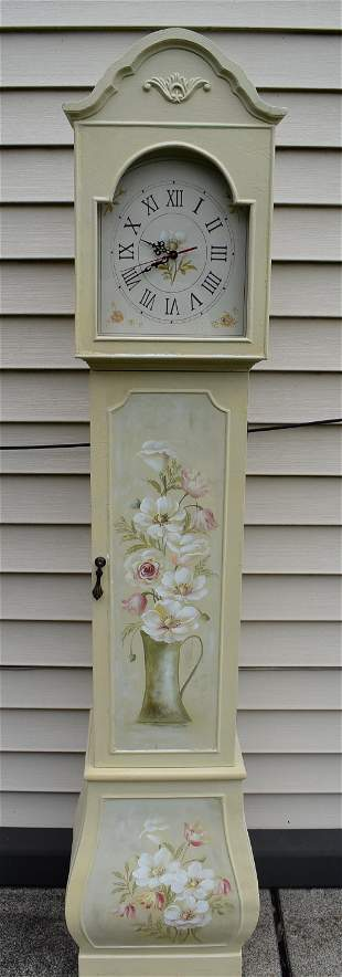Grandmothers Clock Floral Painted Case