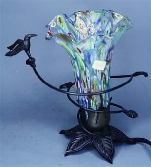 Art Glass Table Lamp Bronze Base