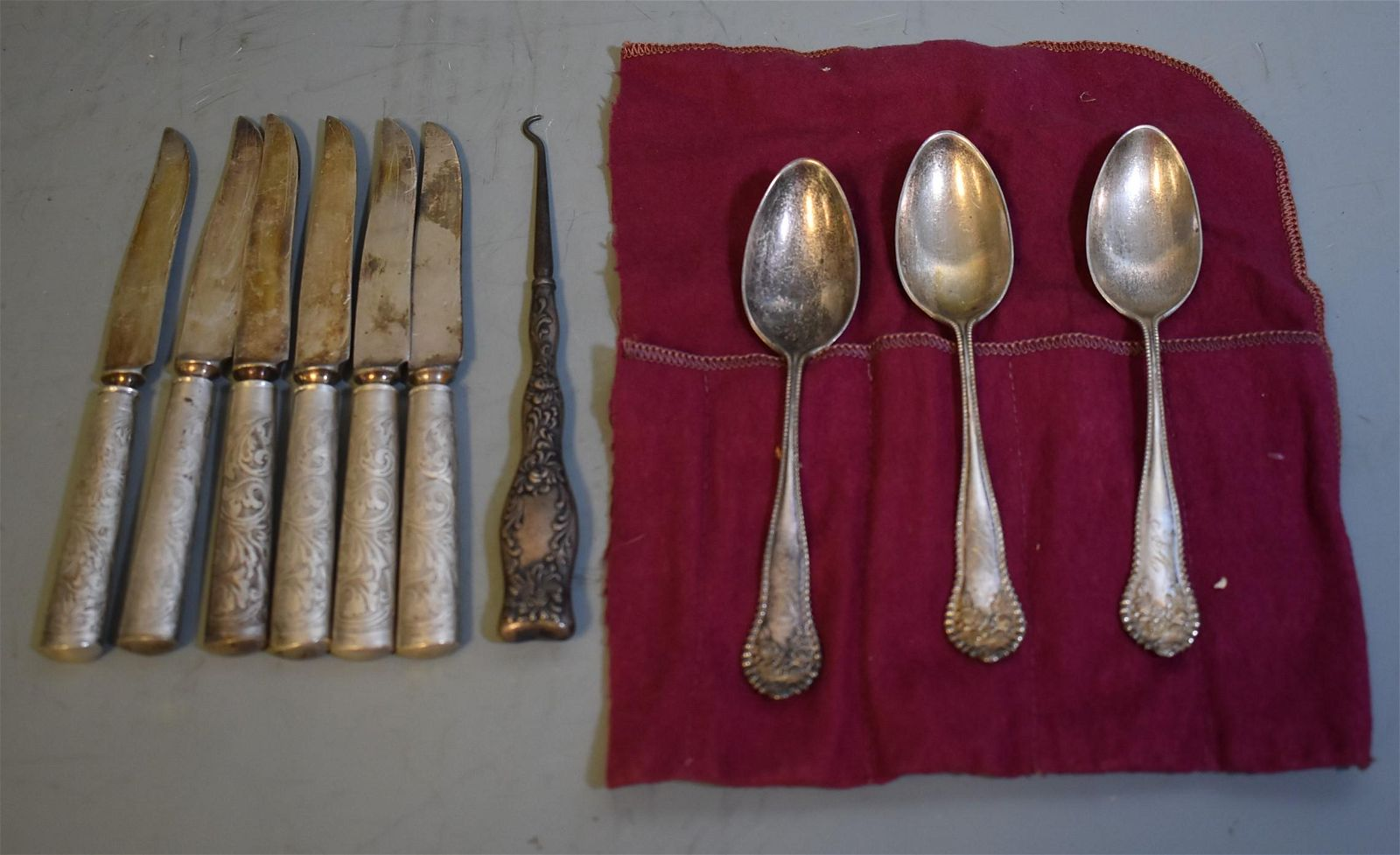 Sterling Silver Knives, Button Hook, Spoons (9)