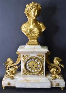 Bronze and Marble Clock  Set  F. Gautier   Paris