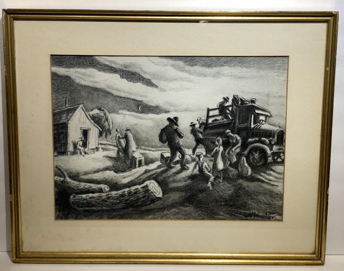 Thomas Hart Benton(after) American Charcoal Drawing